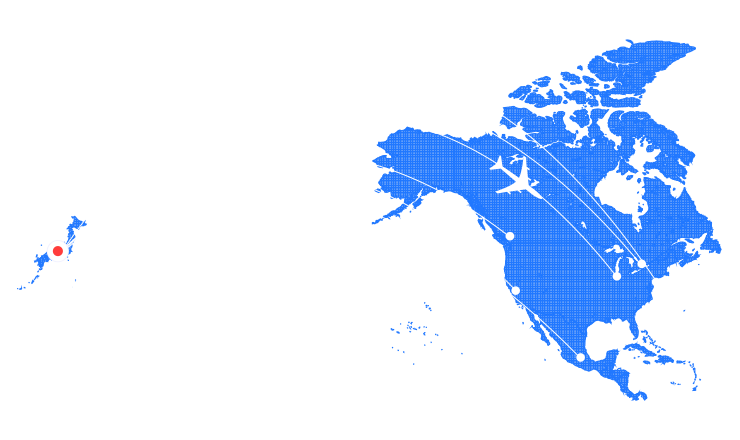 北アメリカの地図
