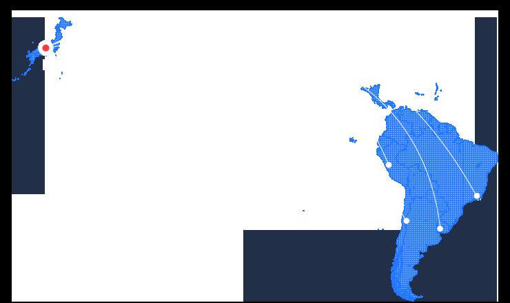 South Americaの地図